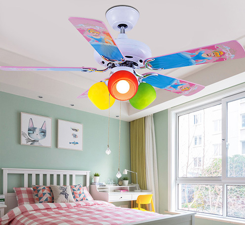 现代优质合板家用装饰手拉绳调速儿童幼儿园风扇灯