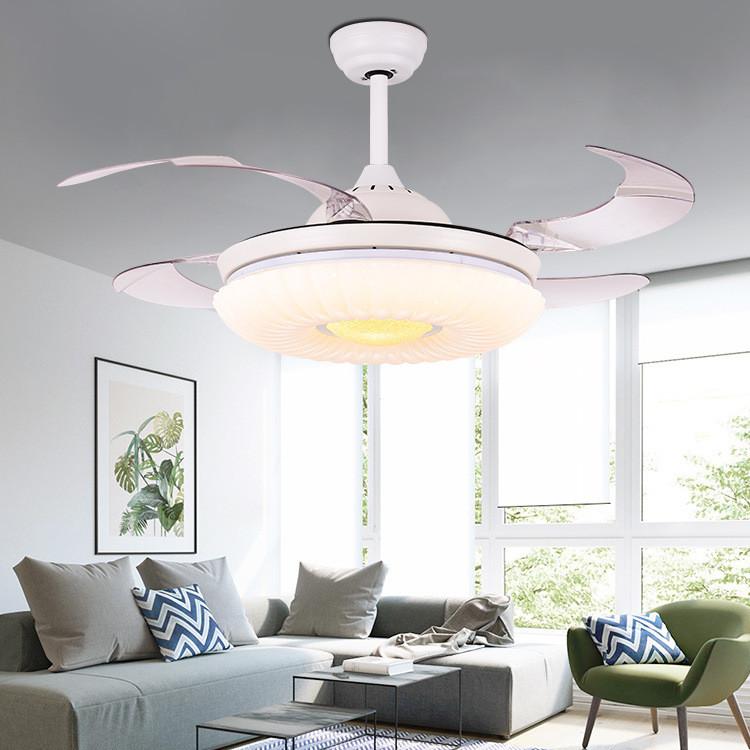 白色隐形吊扇灯 餐厅客厅风扇灯 简约现代LED家用 超静音风扇吊灯
