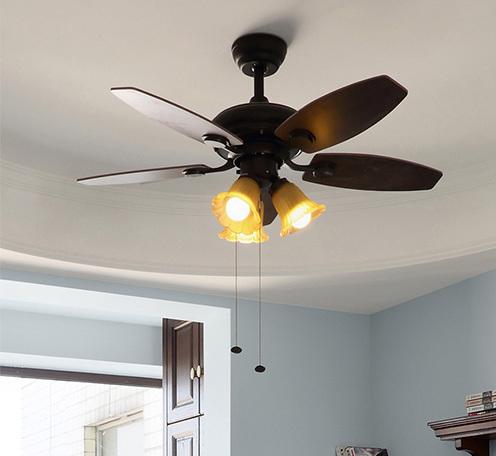 美式风扇灯 42寸木叶遥控复古家用餐厅客厅带灯装饰吊扇灯