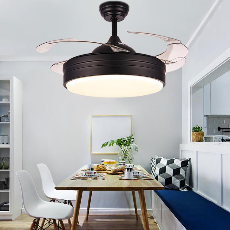 简约隐形led风扇灯 家用客厅餐厅风扇吊灯 黑色电风扇吊灯