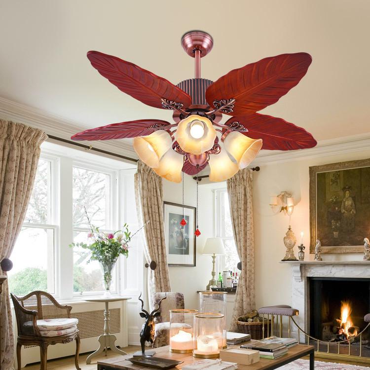 美式古典红木叶48寸客厅餐厅风扇灯