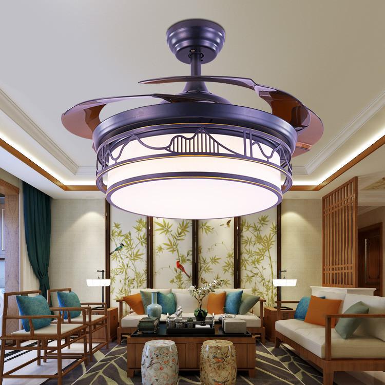 新中式风扇灯 隐形吊扇灯 复古书房餐厅客厅卧室家用带电扇吊灯