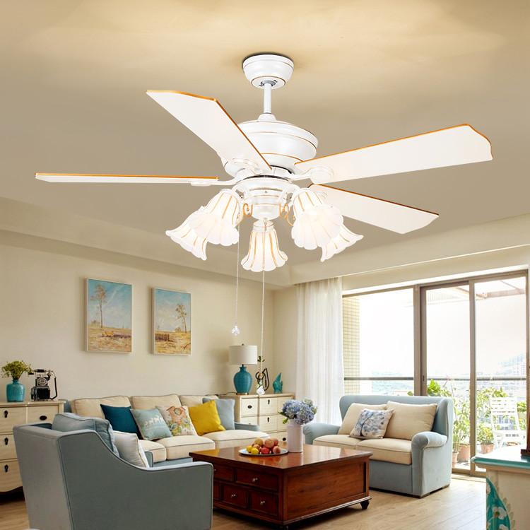 吊扇灯 52寸木叶白色电扇灯餐厅客厅装饰灯卧室家具带灯风扇灯