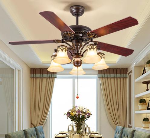 美式电风扇灯 吊扇仿古客厅卧室书房风扇吊灯带灯餐厅装饰吊扇