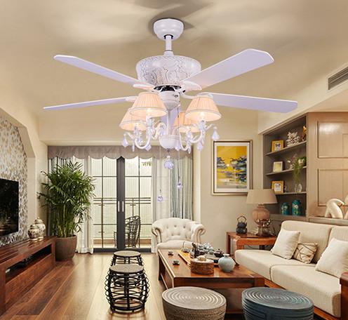 美式餐厅吊扇灯 家用简约LED客厅电扇灯卧室乡村复古北欧风扇吊灯