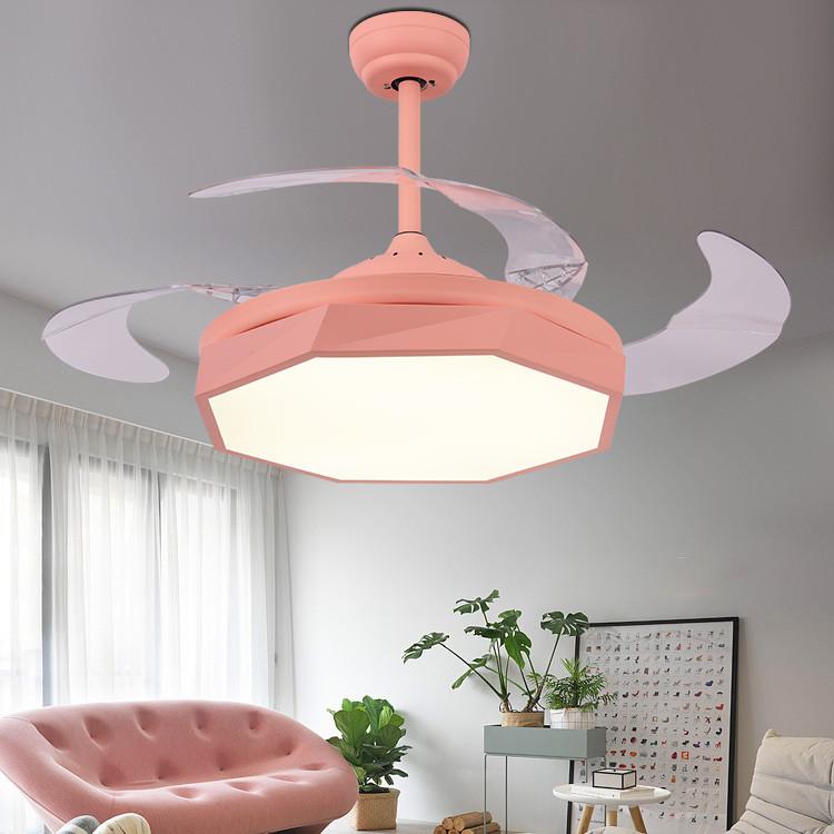 现代简约马卡龙隐形变频带电风扇灯餐厅儿童吊扇灯客厅卧室家用