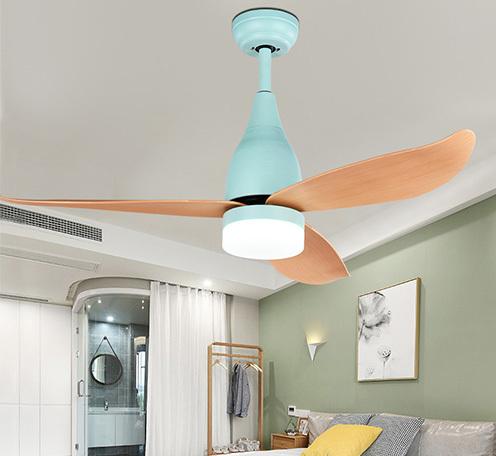 北欧电风扇吊灯简约现代客厅餐厅木叶带风扇灯美式卧室LED吊扇灯