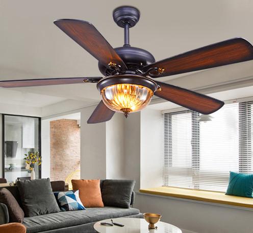 餐厅吊扇灯 客厅美式复古遥控风扇灯 仿古木叶52寸电风扇吊灯