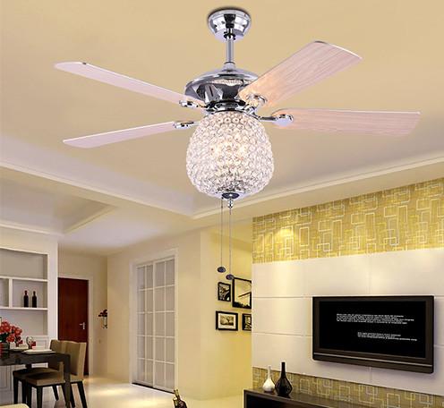 美式简约水晶灯 客厅卧室餐厅创意艺术led风扇吊灯 木纹色风扇灯