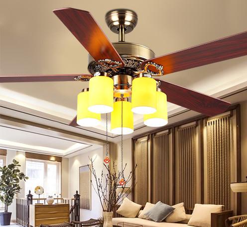 新中式风扇灯餐厅吊灯仿古客厅卧室简约中国风家用大气led吊扇灯