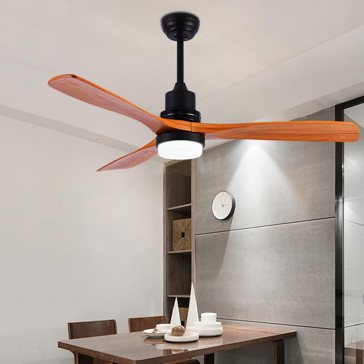 新品北欧吊扇灯实木LED风扇灯简约客厅欧式书房卧室吊扇灯