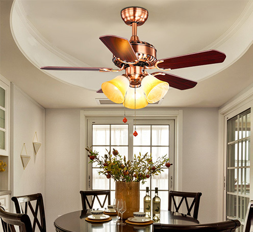 美式木叶吊扇灯欧式复古铁叶风扇灯客厅餐厅LED简约带灯吊扇