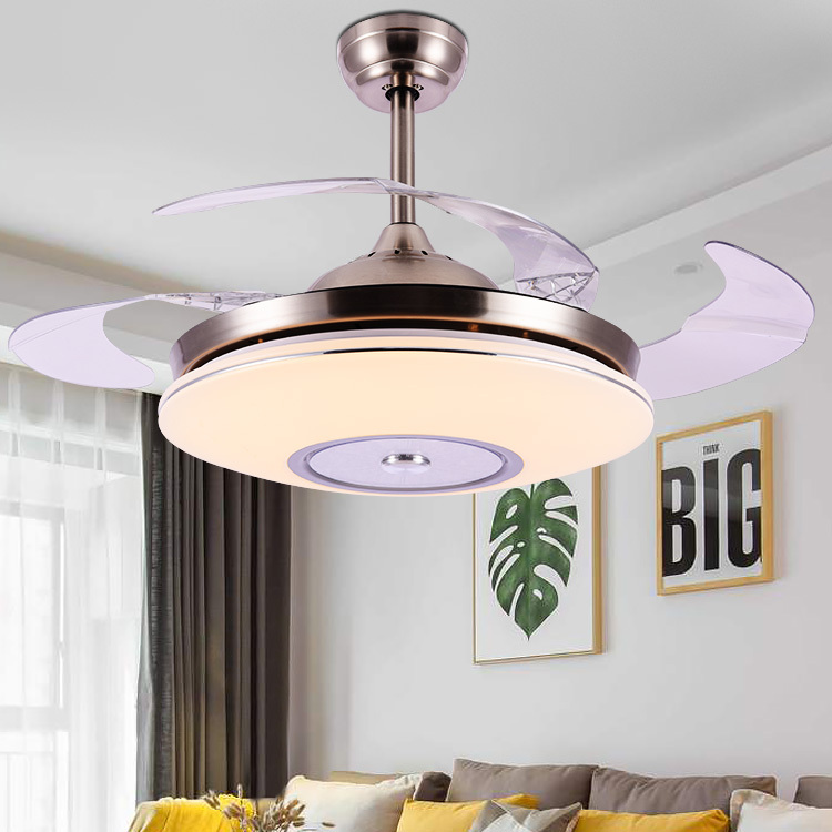 智能隐形吊扇灯 餐厅风扇灯简约现代家用客厅电扇灯卧室带led风扇吊灯