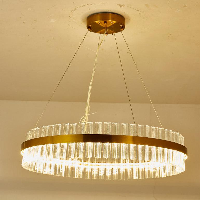 简约圆款单层长条玻璃吊灯
