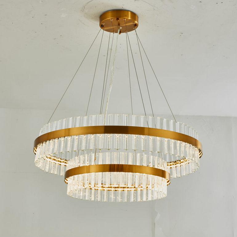 简约圆款两层长条玻璃吊灯