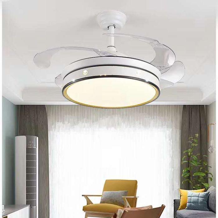 隐形风扇灯北欧简约客厅餐厅卧室电风扇吊灯