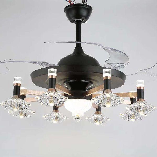 个性创意北欧水晶客厅餐厅卧室隐形风扇吊灯