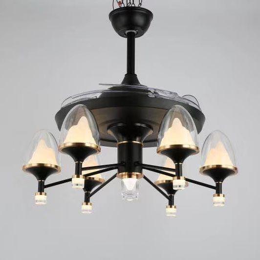个性创意现代隐形客厅餐厅蜡烛灯电风扇吊灯