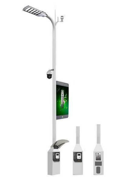 智慧灯杆和LED路灯,集成WIFI基站、摄像头、红外线传感器、雷达、电子显示屏、充电桩、环境监测传感器