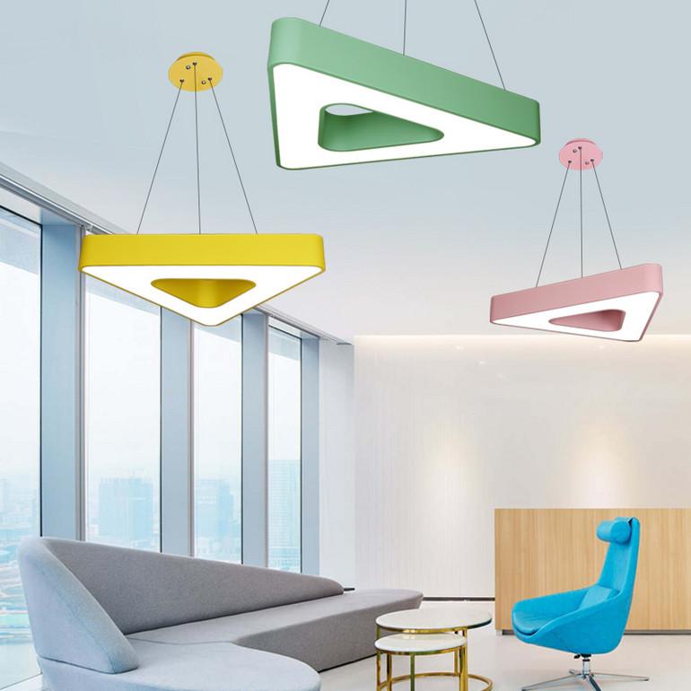 【办公照明】简约现代办公室吊灯led创意几何三角形吸顶灯个性网吧健身房灯具