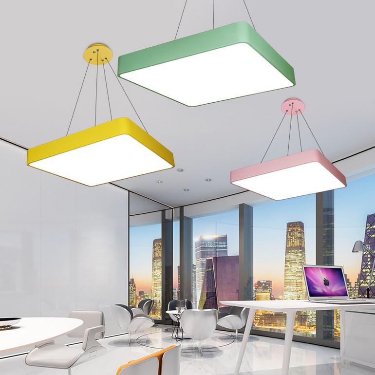 【办公照明】彩色马卡龙办公室吊灯led正方形回形吸顶灯具幼儿园教室灯