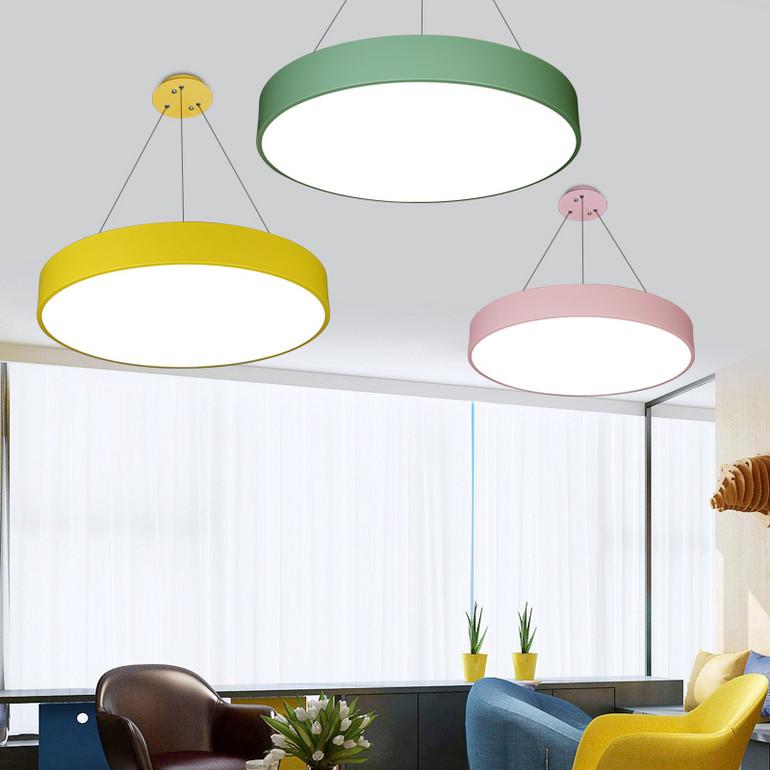 【办公照明】彩色马卡龙办公室吊灯led创意圆形吸顶灯幼儿园儿童舞蹈教室灯具