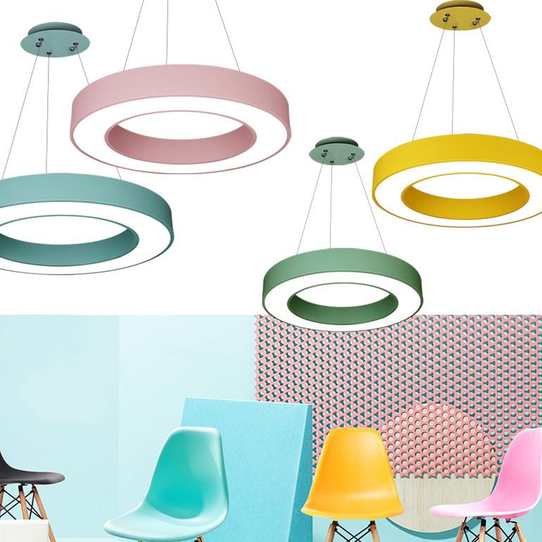 【办公照明】彩色马卡龙办公室吊灯创意中空圆形幼儿园儿童培训班机构教室吸顶灯具