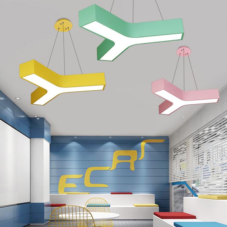 【办公照明】彩色马卡龙办公室吊灯led创意Y形儿童舞蹈美术培训班教室吸顶灯具