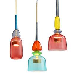 北欧现代简约玻璃吊灯创意个性餐厅吧台咖啡厅玻璃彩色糖果吊灯