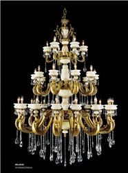 保时利白玉石奢华水晶铜灯