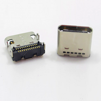 TYPE-C 3.1母座24P兩排端子貼片8.0mm四腳插腳板上有柱