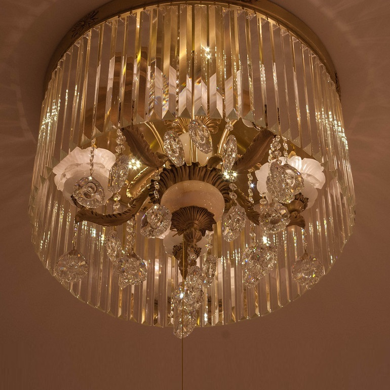 中式优雅大气玻璃水晶吊灯