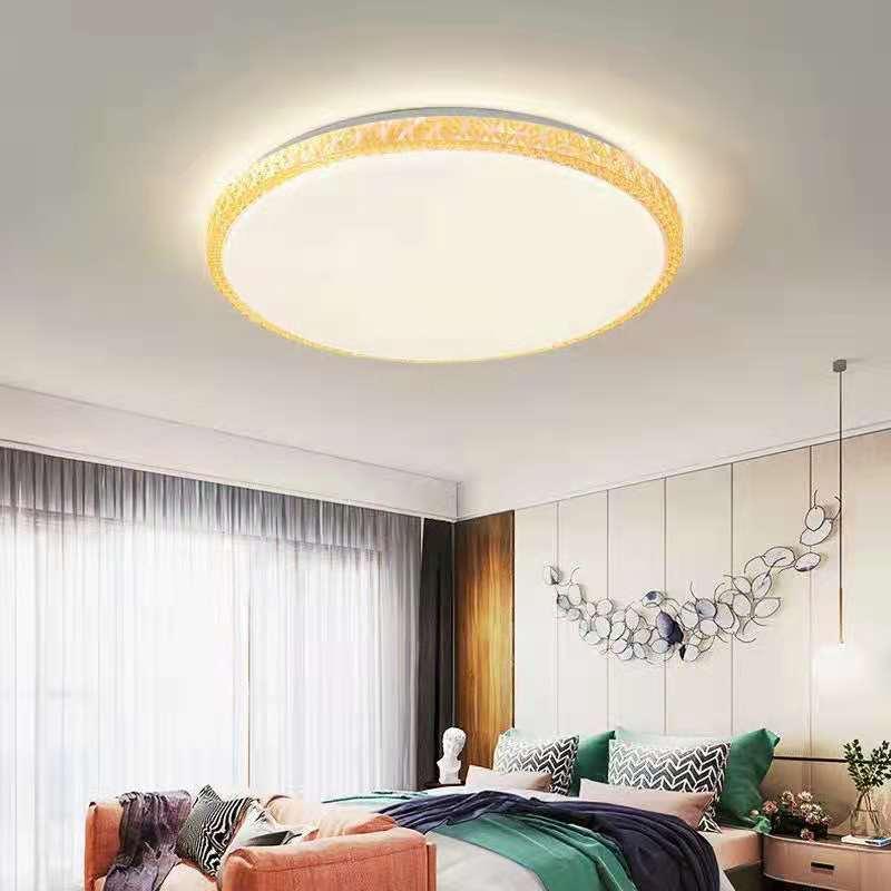 LED家用客厅黄色边框双色温吸顶灯